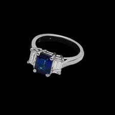 This beautiful sapphire engagment ring is set in platinum and is enhanced with 1.09cts. in square diamonds. From the Pearlman's Collections.