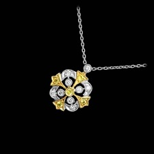 Beverley K 18kt white & yellow diamond filigree pendant