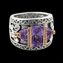 A unique amethyst sterling silver Bellarri ring. There are two trillion cut amethyst of both sides of the center stone.The signature