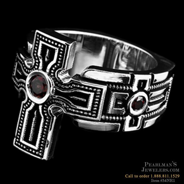 Nightrider Silver Cross Ring With Garnet Center Stone