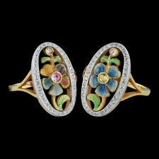 Nouveau Collection 18kt yellow gold colorful enamel ring. This ring measures 21mm x 12mm. Also set with 0.24ctw diamonds around the edge. These rings sure do sparkle! Each ring sold separately. Size 6.25
