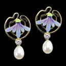 A colorful diamond and pearl art nouveau inspired earrings. These earrings have a blue and green enamel design in the center. Each earring has one diamond weighing 0.10cw, total carat weight is 0.20tcw and they weight 11 grams.