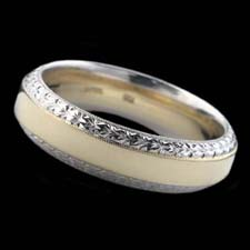 Michael Beaudry's mens handmade 18kt yellow gold and platinum wedding band measuring 6 mm in width.  The ring is hand engraved. Classic Beaudry!