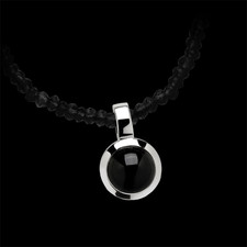 Bastian Inverun Sterling silver onyx pendant on beaded chain