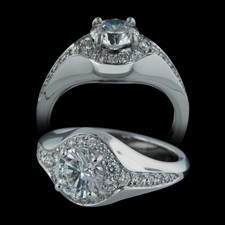 From the Michael Bondanza Whitney Collection a stunning platinum pave diamond engagement ring, set with 28 diamonds weighing .39ct.  To hold a 3/4ct or larger diamond.  Center diamond not included.