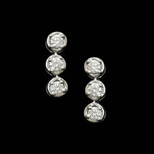 Pearlman's Bridal Platinum 3 stone diamond earrings