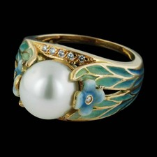 This beautiful Nouveau 18kt yellow gold ring is set with a 9.5mm pearl and blue/green enamel.  Also set with tiny pave. Size 7.5