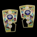 A multicolored stained glass design earrings from the Nouveau Collection. These earrings are made from 18k gold and feature a blue sapphire and 3 diamonds on each earring. The blue sapphire has a carat weight of 0.91cw(1.82tcw for both), and has a carat weight of 0.11cw for the diamonds(0.22tcw for both earrings). The earrings measure 21mm by 14mm and weigh 13 grams.