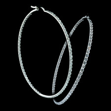 Pearlman's Collection 18kt white gold diamond hoop earrings