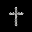 A brilliant platinum and diamond shared prong cross pendant from the Pearlman Collection. This cross features .50ct in F color, VS clarity, ideal cut round diamonds. A beautiful expression of faith.