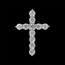 A brilliant platinum and diamond shared prong cross pendant from the Pearlman Collection. This cross features .75ct in F color, VS clarity, ideal cut round diamonds. A beautiful expression of faith.