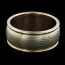 An exceptional yellow gold round edge band from George Sawyer. Features yellow, red and grey gold with etched sterling silver accents in the intricate Mokume pattern. This ring is 10mm wide. Also available in even widths from 6mm. Call for pricing information. Also available in different metal combinations.