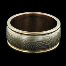 George Sawyer yellow, red and grey gold ring