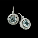 A classic look. These aquamarine earrings from Beverley K are surrounded by diamond pave' and set in 18k white gold.