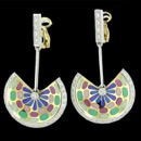 A lovely dangle multi color enamel pair of art nouveau inspired earrings. These earrings are made from 18k gold and have 30 diamonds on each earring. The carat weight of the diamonds on each earrings is 0.83cw, total carat weight is 1.66tcw. These earrings measure 33mm by 60mm and weigh 25 grams.