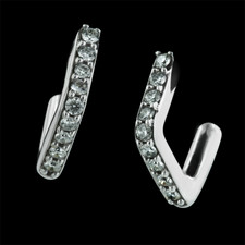 One pair of Honora angular diamond hoop earrings in 18kt white gold, set with .18ctw of diamond, and finished with post backs.