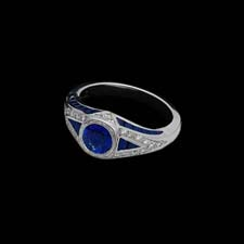 A beautiful retro-inspired platinum ring from the Pearlman's Collection, featuring a 1.20ct. sapphire center stone and enhanced with brilliant sapphires and diamonds.