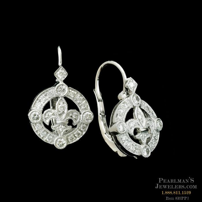 Beverley K Jewelry 18kt White Gold Fleur De Lis Diamond