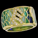 A truly unique 18k gold art nouveau inspired diamond ring. The ring features enameled art work and 18 diamonds that weigh 0.18tcw. The ring weighs 11.50 grams.