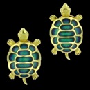 A cute pair of 18k gold green enamel turtle earrings. The color contrast between the green and the yellow gold creates a great combination and a fun look. These earrings measure 25mm x14mm and weigh 12.80 grams.