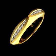 18kt yellow gold squared diamond wedding band from Eddie Sakamoto, with .27ctw.