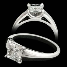 Michael Bondanza's platinum Madison engagement ring with princess center. Center diamond not included.