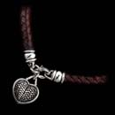 16 inch leather and sterling silver basket weave heart necklace from Kieselstein-Cord. The cord measures 13mm in diameter. This piece is available in brown and black.
