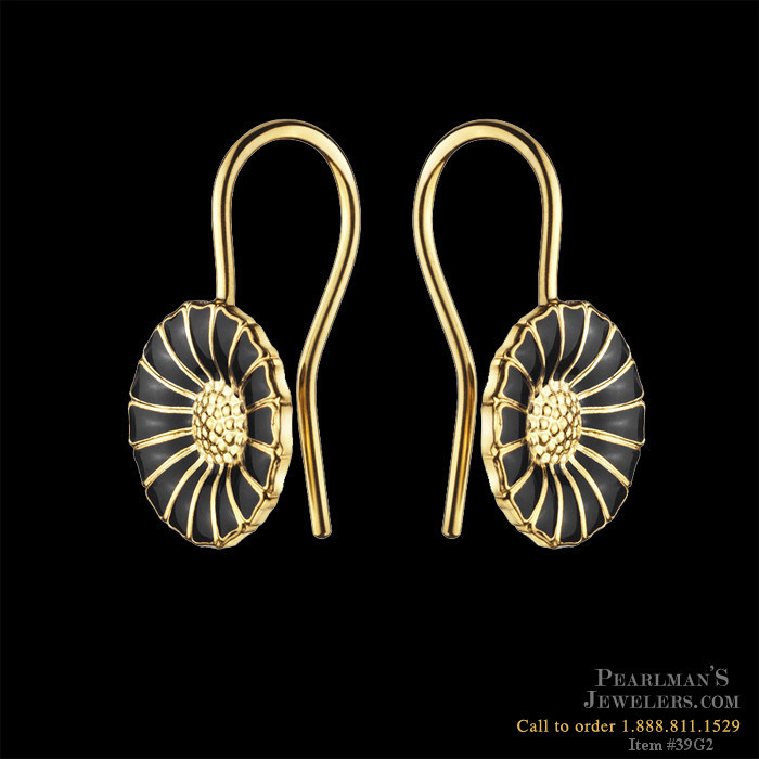 43f126204 Georg Jensen Georg Jensen Black Daisy Earrings In Gold Plate