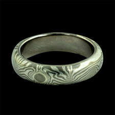 A beautiful Grey gold and sterling silver Mokume wedding band from George Sawyer. This band is 5mm.