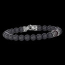 A mens 8mm sterling silver Beaded Bracelet with Color Accent and Black Spinel Rondels. The gemstone is Red Tigers Eye, but comes in onyx. This bracelet is from the Beads Collection of Scott K.