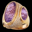 A beautiful 18k yellow gold amethyst and diamond Bellarri ring. The measurements of the ring are 30mm x 26mm. The size of the stones are  Diamonds: 1.30 Lavender amethyst 15ct. This ring was worn by Ashley Baumann to 2014 Emmys.
