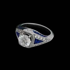 Exclusive from the Pearlman's Collection, this gorgeous platinum ring features 1.25cts. in triangle sapphires and .46cts. in melee diamonds. Center diamond NOT included.