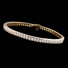 These are the best straight line bracelets we have come accross. Fashioned in white or yellow gold. The diamond weight starts at  2.50cts and goes up to 6.50cts in a semi-bezel mount. This is an item sure to be loved by all. Prices start at $3800.00