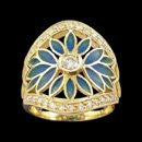 From the nouveau collection, this 18k gold ring features enamel leaf designs around the center round diamond. The ring has a total of 21 diamonds. The center diamond has a carat weight of 0.14. and the ring has a total carat weight of 0.27tcw. The ring measures 21mm x 19mm and weighs 6.61 grams.