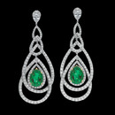 A Platinum Diamond & Columbian Emerald Peacock Earrings