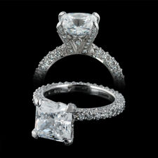 Michael B. Platinum Three Sided micro pave engagement ring