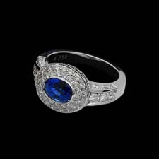 Exclusive from the Pearlman's Collection, a 2.01ct. blue sapphire and diamond ring.  The ring is set with .83cts. of diamonds in a 18K white gold mounting.