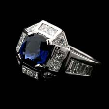 A wonderful sapphire and diamond Gumuchian ring.  The piece contains a 2.20ct beautiful blue sapphire and 1.45ct of diamonds.  This ring is great for diamonds and other colored stones.