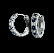 Beverley K 18kt whtie gold diamond & sapphire hoop earrings