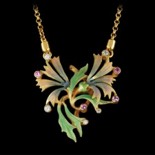 Nouveau Collection's beautiful multicolored enamel 18kt yellow gold necklace set with 5 white diamonds totaling 0.07ct and 4 pink saphires. This piece is 29mm x 27mm.
