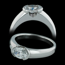 Michael Bondanza's platinum Hudson engagement ring with oval center diamond. Accommodates a 1.0ct (7x5mm) and larger.  Very sleek design. Center diamond not included.