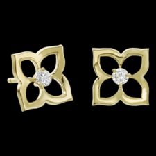 18kt Yellow Gold small Open Lotus Earrings. The center stones have a weight of .14ct