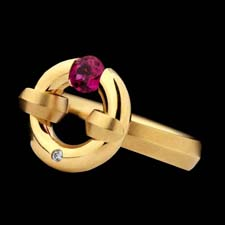 Steven Kretchmer 18k yellow gold pink sapphire ring