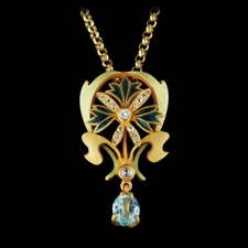 This beautiful 18kt yellow gold necklace from Nouveau Collection is set with 16 white diamonds totaling 0.21ct and one large aquamarine. This piece measures 36mm x 21mm.