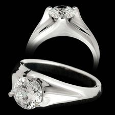 Michael Bondanza's Platinum Sculptural Trident engagement ring for 1.0ct to 3.0ct center diamonds.  Center diamond not included.
