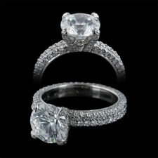 Michael B. platinum double row Flat Band engagement ring