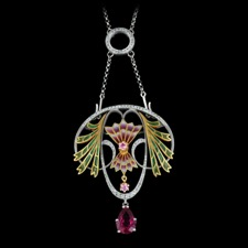 This beautiful 18kt white gold multicolored enamel necklace is set with 0.58ctw white diamonds, two light pink saphires, and one large pink tourmaline. The measurements of this Nouveau Collection piece are 55mm x 46mm.  