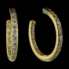 Here's a pair of Honora diamond earrings that could be worn almost everyday.  The 18kt yellow gold hoop style earrings have diamonds that show in the front and from the back.  The earrings measure approximately 19mm in diameter and have a total diamond weight of .50ct.  These earrings are also available in a larger size 40mm size with 1.0ct total weight in diamonds for $2995.00