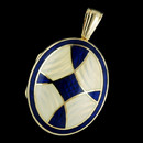 From the art studios of Charles Green an enameled 18 kt.yellow gold oval locket. Sure to make a statement. 30mm x 25mm and also available in red and green enamel. Big and really beautiful!