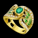 A unique green enamel leaf and green emerald gold art nouveau ring. The ring is made from 18k gold and features 30 round diamonds and a oval shaped emerald. The size of the emerald is 1.10tcw and the total carat weight of the diamonds are 0.45tcw. The measurements of the ring are 16mm x 21mm. Each row of diamonds on the top and bottom flow to the center stone, creating one of the aspects of the art nouveau. This ring is a fine European made piece that is meant for appreciating the art of hand crafted design jewelry.